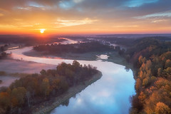 Along the river (xkolba) Tags: foggy mist scenery scenic sunrise morning trees autumn outdoor landscape podlasie bug river riverbank water wood forest road poland mavicpro drone dronephoto aerial