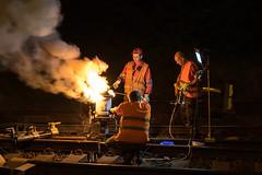 Thermite welding, Hranice na Moravě, 31.07.2017 (miroslav.volek) Tags: czech railway repair rail night work replace switch thermite welding hranice na morave worker