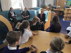 Taking questions from the Pupil Parliament at Carrwood Primary School
