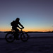 Cycling in the winter morning before sunrise