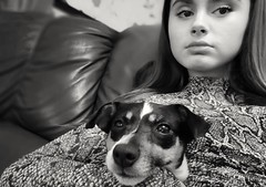 3/365 My 2 Girls (Charlie Little) Tags: maisie bella portrait children pets jackrussell cameraphone mobilephotography huawei p20pro p365 project365 mono blackandwhite bw snapseed
