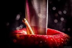 Carving an Apple ©2018 Steven Karp (kartofish) Tags: macromondays intendedcontact apple knife fuji fujifilm xt2 lensflare lowkey