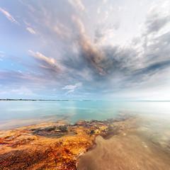 Serene (Louise Denton) Tags: eastpoint fanniebay nt darwin australia orange blue turquoise ocean beach