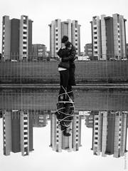 Upside condition (simone.pelatti) Tags: hug love romance urban black white bw rope constriction contrast bulding