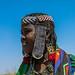 Portrait of an issa tribe woman with a beaded headwear, Afar Region, Gewane, Ethiopia