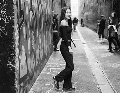 Smile (McLovin 2.0) Tags: candid street streetphotography girls urban city laneway melbourne australia smile monochrome sony a7r zeiss 55mm bokeh