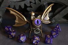 Flying cat robot with purple eye (Catherinette Rings Steampunk) Tags: fantasy adoptables dungeons dnd sculpture modron cat handmade etsy metal art artisan wirewrapped figurine creatures weird oneeyed cyclopean brass copper dice cana canadian cute
