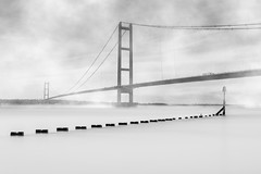 Humber bridge (Andy barclay) Tags: bridge humber suspension lincolnshire yorkshire sea beach water calm fog foggy mist long exposure landscape seascape composit photoshop blackandwhite bnw d7100 nikon
