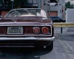 Chevy Corvair (caliwinter) Tags: portra400 kodakportra400 kodak asahipentax6x7 losangeles la canoscan canoscan9000f 9000f morning downtownlosangeles dtla downtown cars film mediumformat