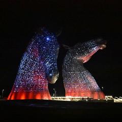 The Kelpies at night (luckypenguin) Tags: scotland falkirk grangemouth helixpark helix kelpies andyscott sculpture