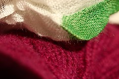 Cloth (AngharadW) Tags: angharadw purple dof white green thread fibre wool cloth macro macromonday