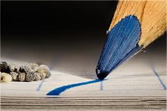 The Border... (Altazur) Tags: intendedcontact macromondays macro macrophotography abstractmacro abstract border blue pencil contact paper nikon d7200