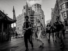 The Blonde Tourist (Peter Polder) Tags: chinatown australia alley bw building buildings clouds city cityscapes exterior people girl cityscape sky lane landscape monochrome mono overcast road sydney street skyline town urban