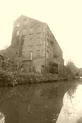 Canalside architecture, Albion Rd, New Mills.  (Peak Forest Canal) October 2018 (dave_attrill) Tags: peakforest canal newmills building factory industrial towpath peakdistrict derbyshire october 2018 sepia monochrome
