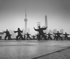 Dawn rituals~ Shanghai (~mimo~) Tags: photography blackandwhite tradition taichi asia bund china shanghai sunrise happyplanet asiafavorites