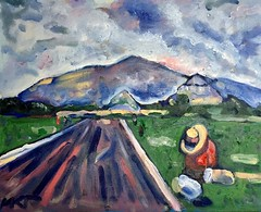 Teotihuacan (The Big Jiggety) Tags: oil painting canvas michael kent art arte kunst huile tableau toile oleo tela mexico mexique mountains pyramids hat chapeau sombrero hut sky clouds