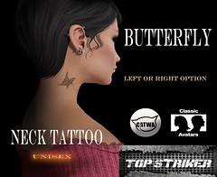 TOP STRIKER / NECK TAT BUTTERFLY (Top Striker) Tags: topstriker necktattoo catwa applier tattoo butterfly schmetterling hals unisex sl secondlife makeup male female
