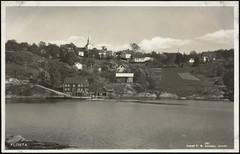 Postkort fra Agder (Avtrykket) Tags: bolighus brygge båt dampbåt hus kirke postkort rutebåt sjekte uthus arendal austagder norway