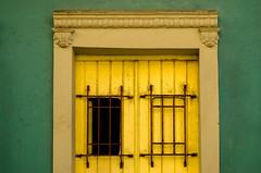 yellow and green (Sam Scholes) Tags: building rusted colorful color sanjuan travel yellow architecture puertorico rust green vacation bars barred door