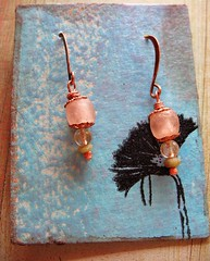 recycled african glass citrine and jade earrings 1 (msficklemedia) Tags: handforged artisanjewelry handcrafted earrings recycledmetal stone beads sterling silver missficklemedia