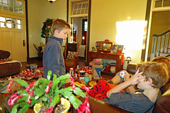 christmasnego (FAIRFIELDFAMILY) Tags: christmas 2018 jason taylor grant carson michelle winnsboro sc south carolina present presents family living room house interior arts crafts craftsman bungalow antique fireplace rug lego legos child boy young old children boys mother son fairfield county vintage tree morris chair oak mantle piece