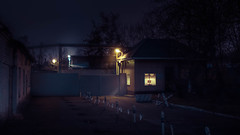 Security post. (igor.relsov) Tags: street security night lamp evening light house magic mystic