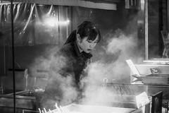Kyoto Street (Andrew Allan Jpn) Tags: girl steam street blackandwhite travel kyoto japan japanesegirl food market night nightlights illumination monochrome pentaxart pentaxk3 da5018 happyplanet asiafavorites