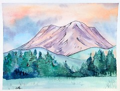 Mount Rainier Sunrise (alisonleighlilly) Tags: watercolor painting landscape mountrainier sunrise