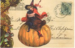 Postcrossing CA-862387 (booboo_babies) Tags: vintage victorian halloween witch pumpkin blackcat postage postagestamps postcard collage postcrossing