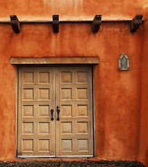 Morning on the Hill (studioferullo) Tags: architecture art beauty bright building colorful colourful colors colours contrast dark design detail edge light lines perspective pattern pretty scene study street texture tone world door viga adobe stucco wood panel wall museum santafe newmexico