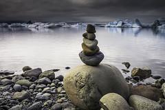 Jokulsarlon Cairn (Longleaf.Photography) Tags: jokulsarlon iceberg lagoon bay iceland ice cairn rock tower beach coast sea