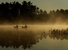 Silence (flip-click) Tags: grundylake sunrise mist 2017 kayak reflection mirror