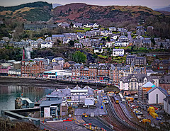 Oban (Rollingstone1) Tags: oban pano panorama scotland harbour sea town hills trees view water street buildings sky dock station houses hdr music rock landscape hillside building