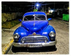 In the Night Time (plismo) Tags: plismo varadero matanzas cuba car oldcar auto night nighttime blue streetlight light street road cubannight cubancar