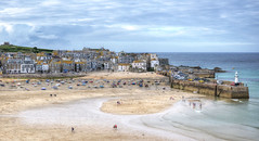 Low tide at St Ives, Cornwall (Baz Richardson) Tags: cornwall stives smalltowns coast cornishharbours sandybeaches