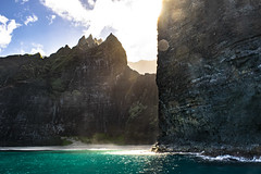Na Pali Glow (coleleinbach) Tags: hawaii kauai landscape cliffs napali rock geology beach sand water ocean