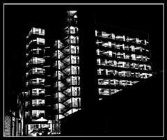 Liverpool noir (ronramstew) Tags: liverpool merseyside carpark bw blackandwhite noir geometry