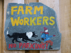 26. Comical (Jackie & Dennis) Tags: 119in2019 26119 farmworkers noparking comical sheepdog rambler chased sign