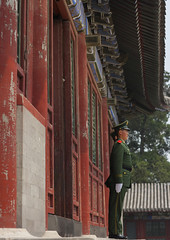 Guard Standing In Front Of Forbidden City, Beijing, China (Eric Lafforgue) Tags: mg06502 adultonly architecture asia authority beijing bluesky buildingexterior builtstructure china chinesescript city colorpicture communism composition day famousplace forbiddencity gate guard history honourguard horizontal internationallandmark lowangleview majestic militaryuniform monument oneperson outdoor pekin police policeofficer realpeople standing tiananmensquare traditionallychinese travel unesco uniform vertical worldheritage