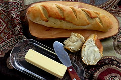 French Baguette (Eat With Your Eyez) Tags: macro sunroom cold winter french bread baguette loaf bokeh flour salt water yeast knead rise baking eat dinner breakfast lunch meal foodphotography foodpornfood styling plating panasonic fz1000