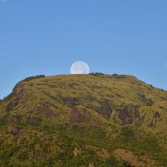 Moon on mountain