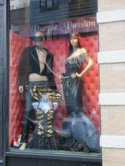 Purple Passion Kink Shop Window S and M Wear 4890 (Brechtbug) Tags: purple passion kink shop window s m wear costumed mannequins store front an adult outfits west side chelsea neighborhood sale costume costumes nyc 2018 new york city off 8th avenue midtown manhattan below hell kitchen westside fashion racy display november 11122018 dog collar mask masks leather fetish clothes