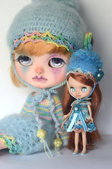 Petite and Icy in crochet (Art_emis) Tags: petite icy crochet custom blythe doll ooak handmade hand painted reshaped altered carved photography artemis sets clothes dress helmet mohair angora cotton blue