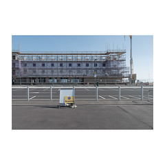 Hotel, Motel (Number Johnny 5) Tags: cranes lines tamron d750 building urbanal topographics space empty documentary light banal shadows signs urban imanoot construction 2470mm nikon car mundane deserted park angles posts documenting johnpettigrew