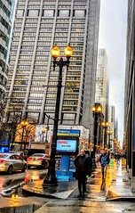 getting to work (christiaan_25) Tags: commute commuters walking people street streetscape person chicago city urban dearborn colors lights wet winter fog perspective pov vanishingpoint