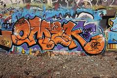 OMEK (TheGraffitiHunters) Tags: graffiti graff spray paint street art colorful nj new jersey cement wall omek