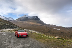 Quinag Red (syf22) Tags: scotland highlandofscotland rosscromarty roadtrip pcgb pcgbr2 pcgbscottishregion porsche porscheclubgb porscheboxster boxster boxsters boxster981s red guardsred car automobile auto autocar automotor vehicle motor motorcar softtop convertible sportscar twoseater shape summits point viewpoint cloudscape cloudy mist rain