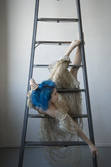 Cirque (Samantha Pugsley) Tags: circus acrobat acrobatics ladder flexible portrait hanging hang gown dress contort contortion conceptual concept studio bluehair pale ethereal delicate