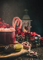 Christmas coffee (Ro Cafe) Tags: candycanes christmas nikkor2470mmf28 sonya7iii stilllife coffee festive ornaments fantasy darkmood textured