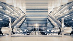 subway station hamburg überseequartier (norbert.wegner) Tags: architecture modern indoors escalator window transportation builtstructure business urbanscene glassmaterial nopeople reflection station flooring officebuilding steel staircase ceiling luxury everypixel subway hamburg